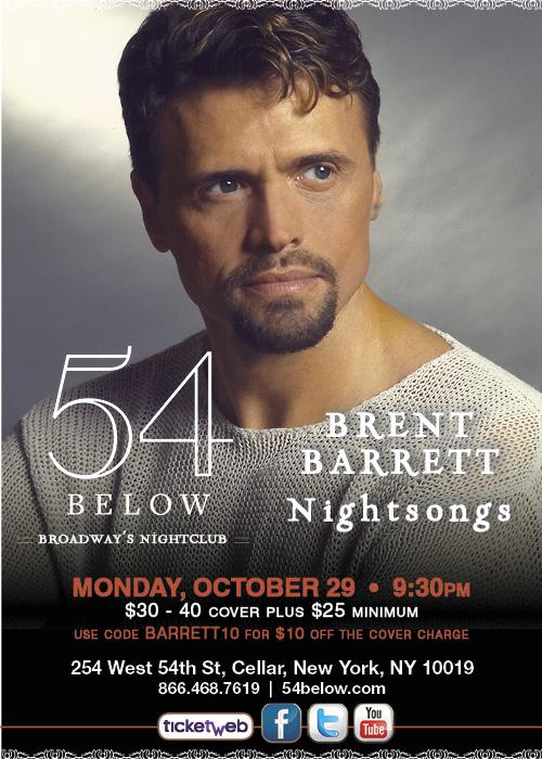 Brent Barrett at 54 Below on October 29, 2012, at 9:30pm