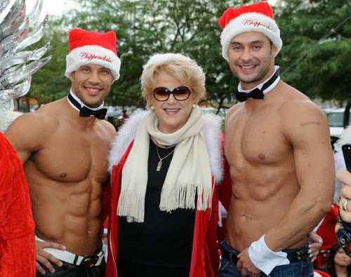 Chippendales Sami Eskelin and James Davis (currently on The Amazing Race) with Las Vegas Mayor Carolyn Goodman