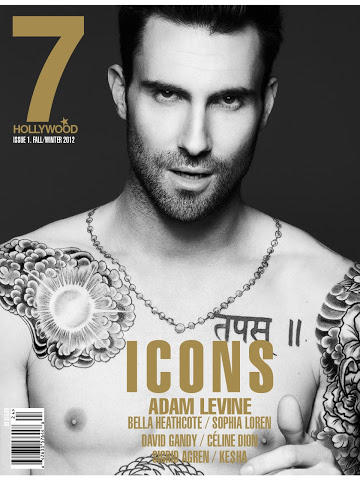 Sexy and shirtless Adam Levine on the cover of 7 Hollywood Magazine