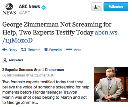Two audio experts testified today that the voice heard screaming on a recorded 911 call was not George Zimmerman