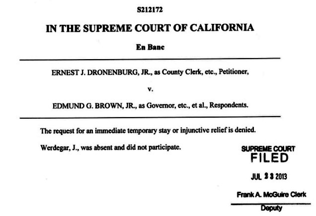 California Supreme Court denies attempt by anti-gay haters to stop marriage licenses from being issued