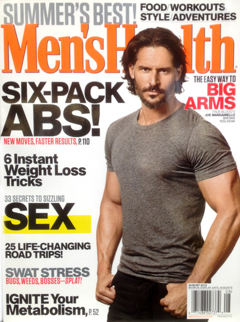 Joe Manganiello on the cover of Men's Health Magazine with his tips to get big arms the easy way