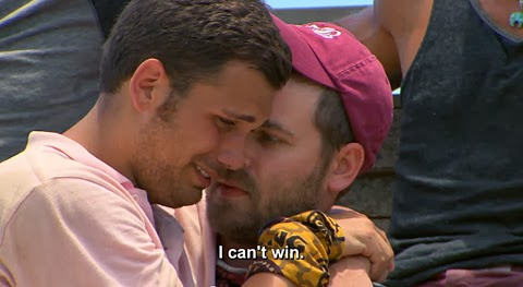 """Caleb Bankston, who recently died in a train accident, comforts boyfriend Colton Cumbie during """"Survivor: Blood vs Water"""""""
