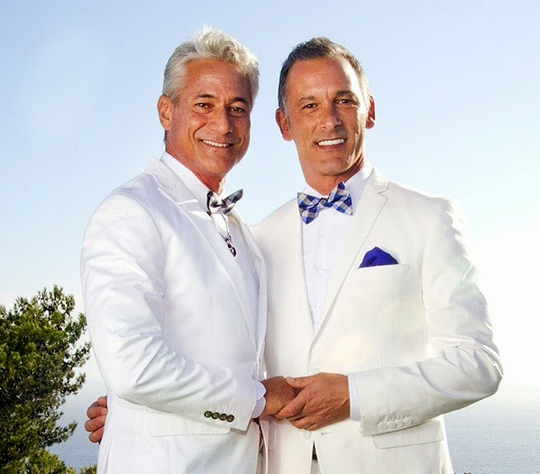 Olympic gold medalist Greg Louganis married Johnny Chaillot in Maibu ceremony by the ocean