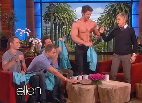 Ellen welcomes the hunky, cute and shirtless The Cream Pies