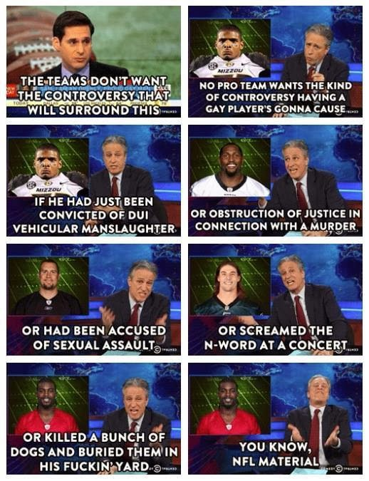 """Jon Stewart gets to the truth on hypocrisy in the NFL regarding """"controversy"""" and newly out football player Michael Sam"""