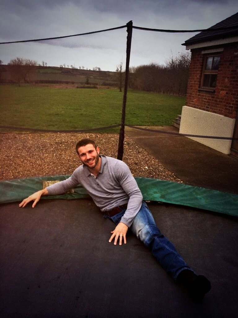Rugby champ Ben Cohen tweets pic as he falls through a trampoline