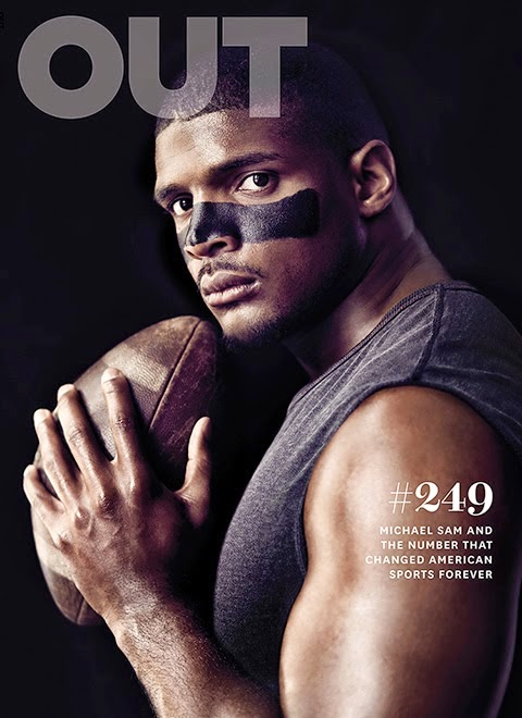 Michael Sam, out athlete and NFL player, on the cover of OUT Magazine