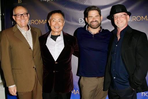 "George Takei and husband Brad with Matt Zarley and Benjamin Pollack at the LA premiere of ""hopefulROMANTIC"""
