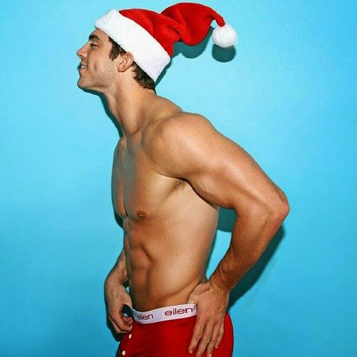 Billy Reilich (aka Nick the Gardener) as naked Santa