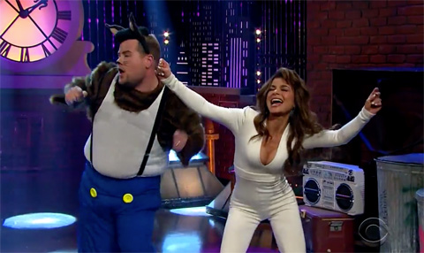 "James Corden & Paula Abdul recreate her iconic 1980s music video ""Opposites Attract"""