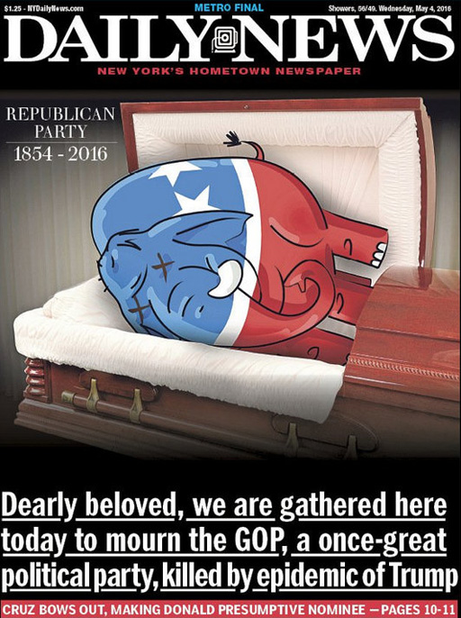The New York Daily News writes the obituary on the Republican Party as Donald Trump secures the GOP nomination for president