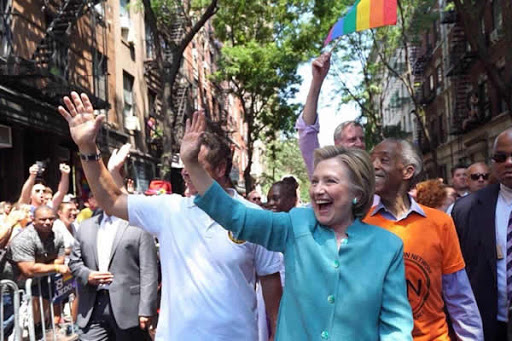 Democratic presidential nominee Hillary Clinton became the first presidential  from a major party to march in a Gay Pride parade today in New York City