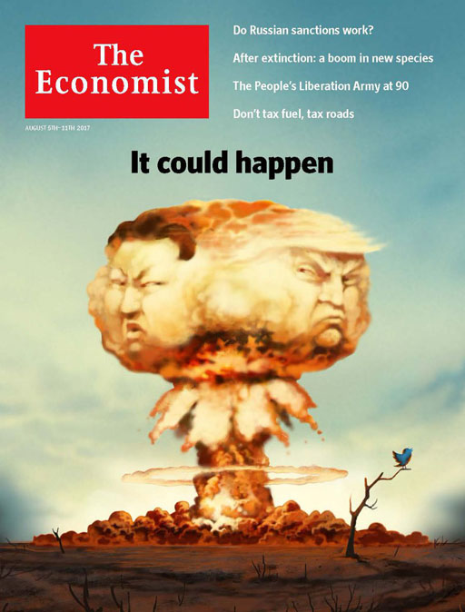 """As Donald Trump threatens North Korea with """"fire & fury"""" The Economist depicts the possible conflict on this week's cover."""