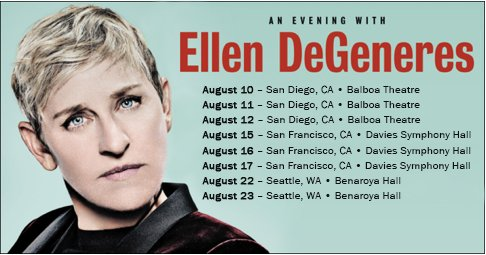 Ellen DeGeneres announces three city standup comedy tour in August 2018