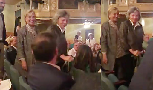 Hillary Clinton attended last night's performance of Hello, Dolly! on Broadway and received a standing ovation as she took her seat.