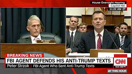Earlier today, FBI agent Peter Strzok resoundingly denounced the approach and tone House Republicans took during his testimony before the House Oversight Committee.