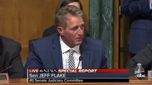 Sen. Jeff Flake of Arizona asked colleagues to delay full vote on Brett Kavanaugh
