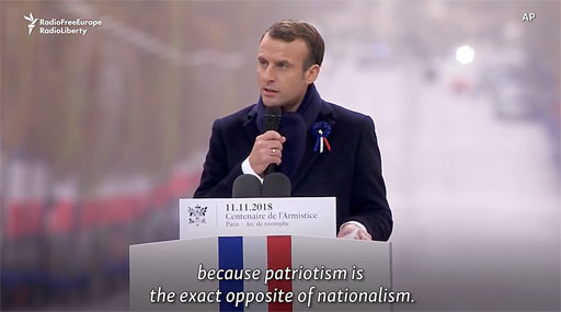 """At a ceremony on today commemorating the 100th anniversary of the end of World War I, French President Emmanuel Macron delivered a direct slap at Donald Trump's """"America first"""" approach to international affairs."""