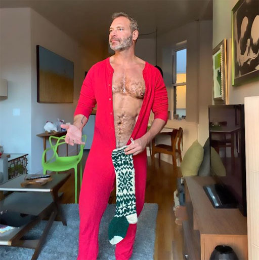 """• Handsome InstaHunk Jim Newman (above) has been running a fabulous """"Days of Christmas"""" campaign over on his Instagram taking pics au naturel with items in his home blocking just the barest of body parts. Well, worth clicking over to as this was the most tame I can post here ;)"""