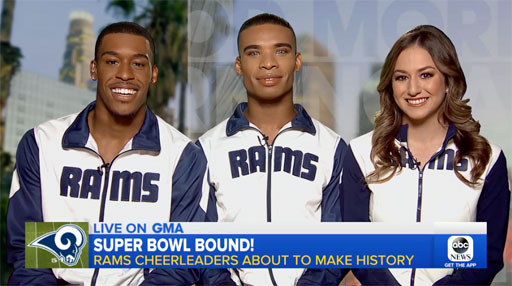 Now, with the Rams heading to the Super Bowl, that means more history in the making as the guys are set to become the first-ever male cheerleaders to dance at a Super Bowl.
