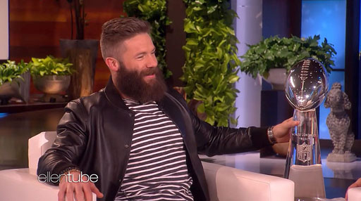 Ellen DeGeneres offers Super Bowl MVP Julian Edelman money for charity if she can shave his awesome beard