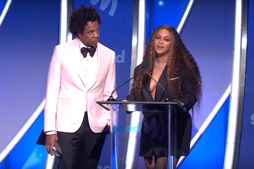 Beyoncé and Jay-Z were honored with the Vanguard Award at the 30th annual GLAAD Media Awards on Friday in Los Angeles.