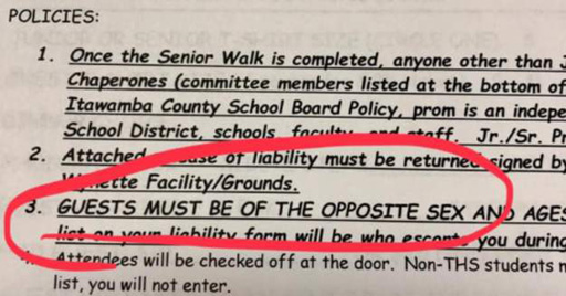 Students at a Mississippi high school were given required attendance paperwork in order to attend prom that included language that clearly banned same-sex dates.