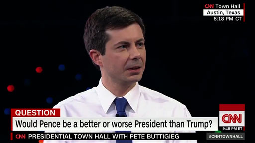 South Bend Mayor Pete Buttigieg, in the hunt for the Democratic presidential nomination, said Sunday night that he and Vice President Mike Pence (former governor of Indiana) have different views on biblical scripture.