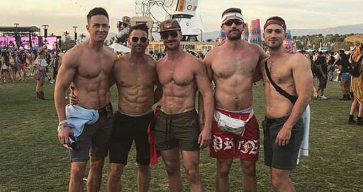 Shirtless Aaron Schock was partying with the Coachella gays