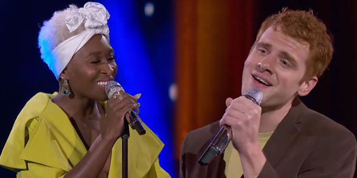 """Jeremiah Lloyd Harmon, the openly gay son of a Maryland pastor, had the good fortune to be paired with Tony/Grammy/Emmy Award-winning actress (The Color Purple) Cynthia Erivo for a luscious, show stopping performance of Cyndi Lauper's classic hit, """"Time After Time."""""""