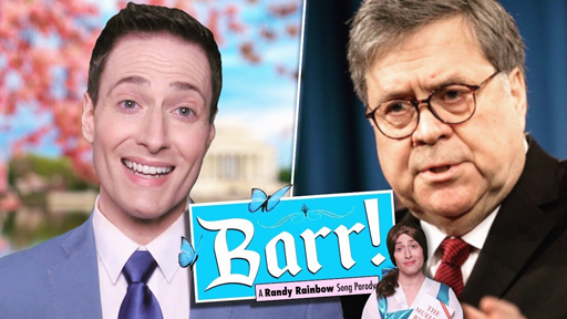 """In his latest parody, Randy puts his twist on the opening number from Disney's Beauty and the Beast. But in this incarnation, instead of """"Belle!,"""" Attorney General William Barr gets the satire treatment with """"Barr!"""""""