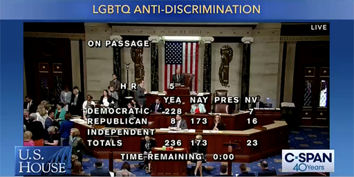 Today, the U.S. House of Representatives passed the Equality Act, a critically important piece of federal legislation that would, for the first time, explicitly add sexual orientation and gender identity protections to existing civil rights laws.