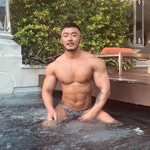 • When the hot tub gets 'that much hotter' thanks to InstaHunk Guoyang510 (above).