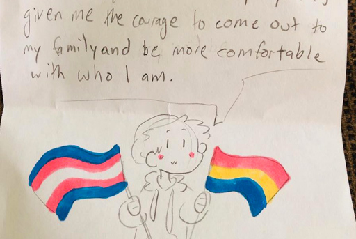 An note from a young neighbor told a Texas lesbian her Pride flag inspired them to come out.