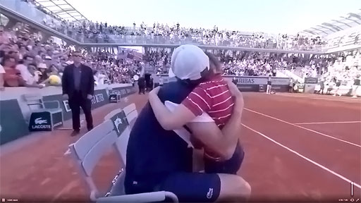 When tennis player Nicholas Mahut lost in the third round of the French Open last Friday, he became emotional holding back tears.  Then his son, Natanel, ran across the court to console his dad.