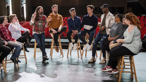 As part of the new season, the Fab 5 head to the Kansas City high school where cast member Jonathan Van Ness spent his teens to 'make better' his favorite teacher.  As a bonus for that episode, the guys sit down for a chat with the school's Gay/Straight Alliance for a candid conversation on subjects ranging from coming out, burgeoning self-awareness, bullying, and allies.