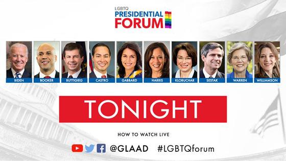 The 2020 Democratic candidates will answer LGBTQ-specific questions tonight in Iowa at the GLAAD-sponsored #LGBTQforum