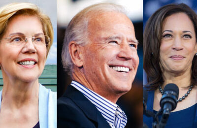 Sens. Elizabeth Warren and Kamala Harris with former Vice President Joe Biden