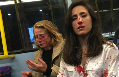 Melania Ramirez and Christine Hannigan shared this photo on social media after being attacked on a bus in May 2019