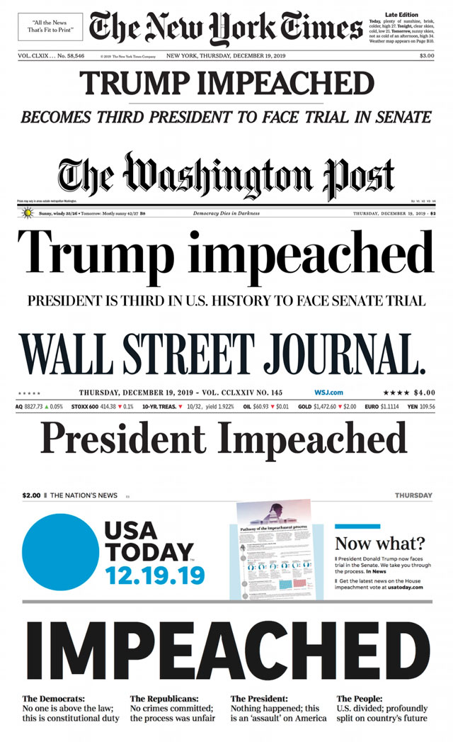 Headlines from across the nation announcing the impeachment of Donald Trump