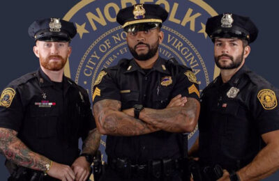 Three bearded police officers from Norfolk Police Dept