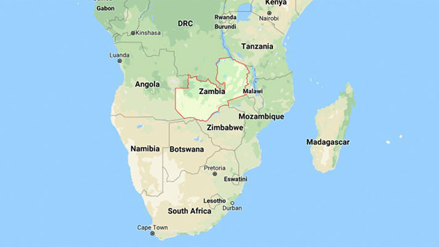 World map showing Zambia on continent of Africa