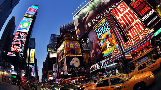 A photo of Broadway marquees in Times Square