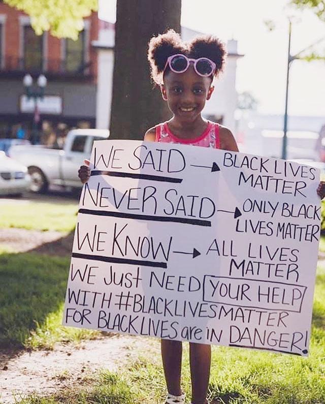 We said Black Lives Matter. We never said 'Only Black Lives Matter.' We know All Lives Matter.  We just need your help with #BlackLivesMatter for Black lives are in danger!