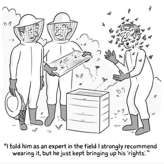 """Two bee keepers watch a third being stung by bees while not wearing protective gear. Text reads, """"I told him as an expert in the field I strongly recommend wearing it, but he just kept bringing up his 'rights.'"""""""