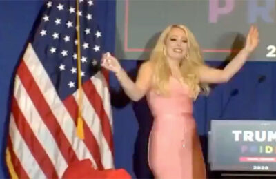 Tiffany Trump dances out on stage at a so-called 'Trump Pride' event