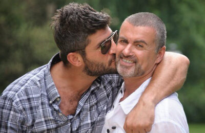George Michael and his then-boyfriend Fadi Fawaz in 2012