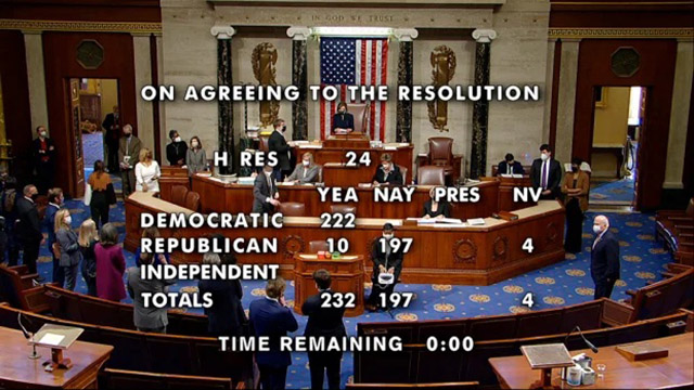 House of Representatives votes 232-197 to impeach Donald Trump a second time
