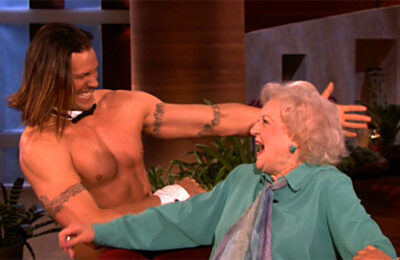Happy birthday Betty White! Chippendales dancer Jace Crispin surprised White on The Ellen Show